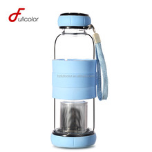 BPA free glass water bottle with tea infuser and slicone sleeve 420ml in stock