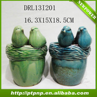 Cheap Wholesale bird design garden ceramic flower vase