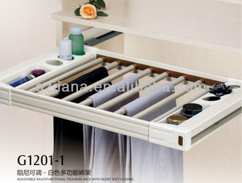 Pull-out Adjustable Wardrobe Aluminum Trouser Rack with Silent Soft Closing