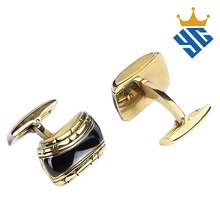 Luxurious Gold Plating Stainless Steel Jewelry Men's Cufflinks with Black Epoxy