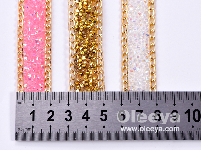 2cm Strass Crystal AB Hotfix Rhinestone Sheet with Chain Flatback Banding Trimming for Wedding Banquet Handles