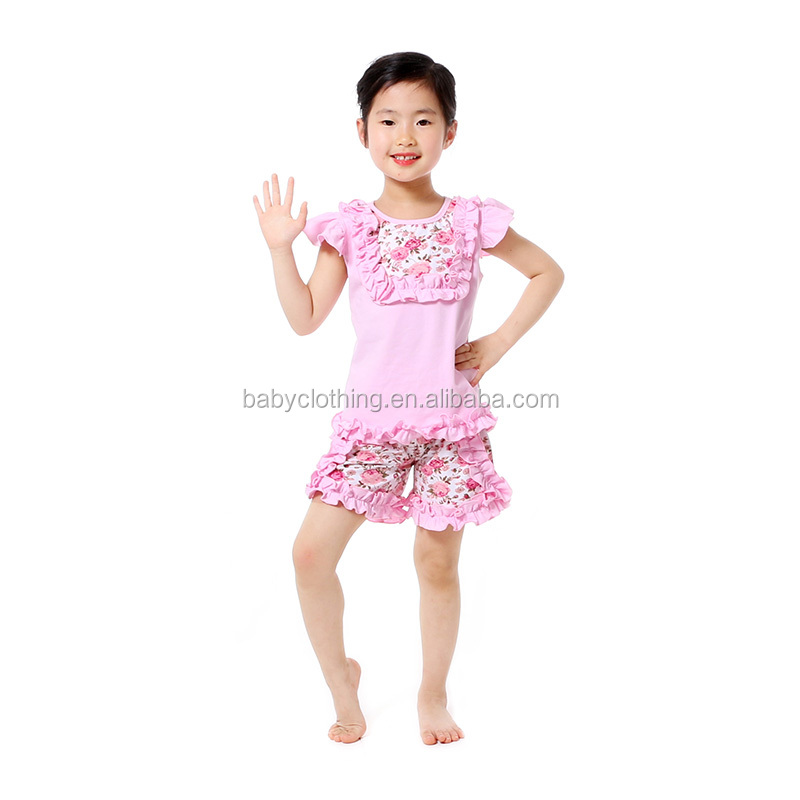 latest baby clothes pink floral top with ruffle short set wholesale yiwu clothing