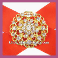 Wholesale ! 37mm Gold Round Bridal Rhinestone Brooch,Party Dress Pin.Pin for Chair Cover ,Bouquet ,Costume and Invitation