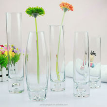 Round Top oval shaped Clear Glass Vase Tall Wholesale Glass Vase