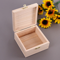Handmade unfinished small wooden storage box with lid for collection of jewelry or other ornaments