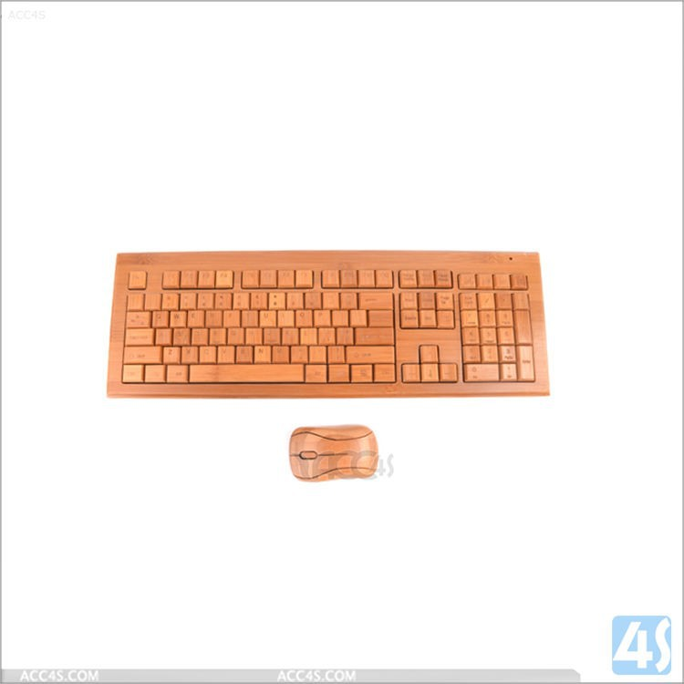 New Ultra Thin Wireless Bamboo Keyboard, Bluetooth Keyboard with USB Port