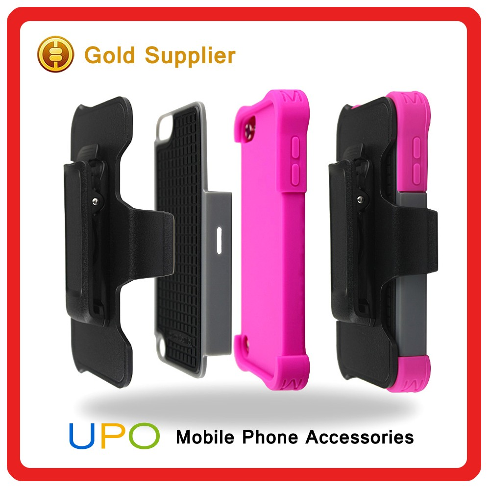 [UPO] Detachable 3 in 1 Silicon +PC Plastic Mobile Case for iPod Touch 5 with Belt Clip
