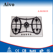 Built in gas stove 5 burner cooktops,stainless steel panel with cast iron pan support,battery ignition