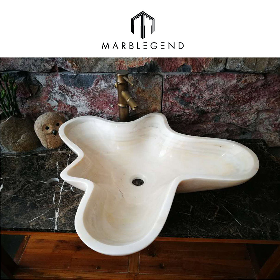 bathroom interior decoration white marble natural stone wash hand basin