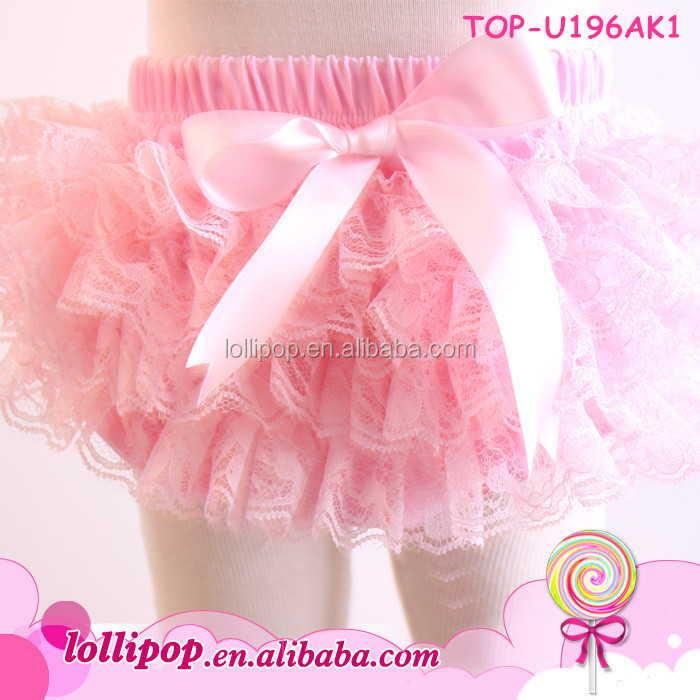 Best selling pink bow knot newborn bloomer lace toddler infant ruffle bloomers