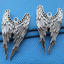 High Quality Antique Silver 24mm*39mm Angel Wing Charms Wholesale