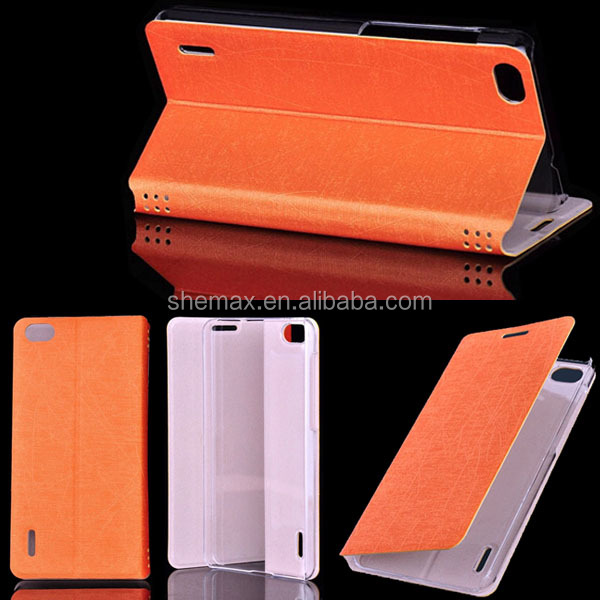 2014 Newest Design High Quality Crystal Cover PU Leather Flip Case For Huawei Honor 6