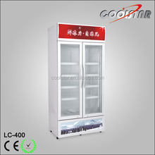 Commercial Two layer sliding glass door vertical refrigerator showcase