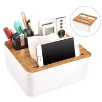 Bamboo Tissue Box Cover, Phone Holder Remote Control Storage Box Cosmetics,Makeup Organizer Office Supplies Packing Box