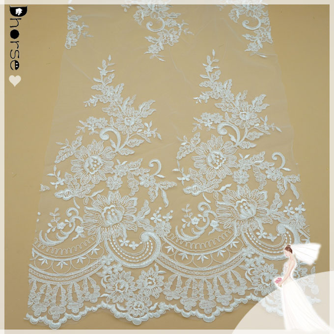 "DH-BF441 Delicate Customized Ivory Organza Embroidery Floral Wedding Lace Fabric 52""/Yd"
