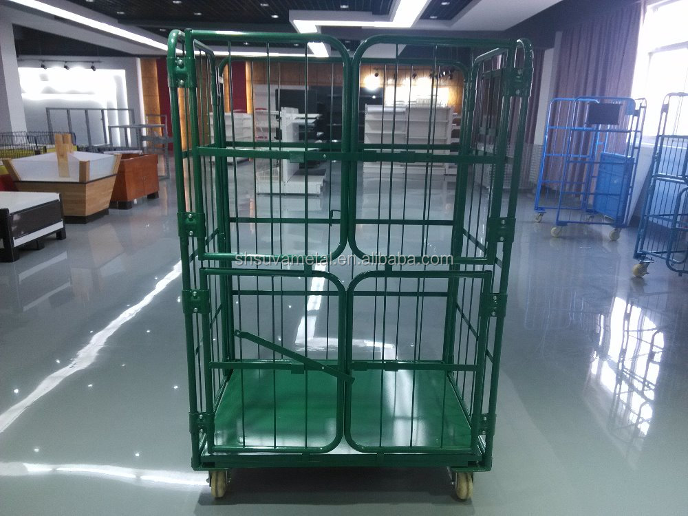 Supermarket warehouse cargo storage rolling cart wire mesh cage trolley wire mesh cart