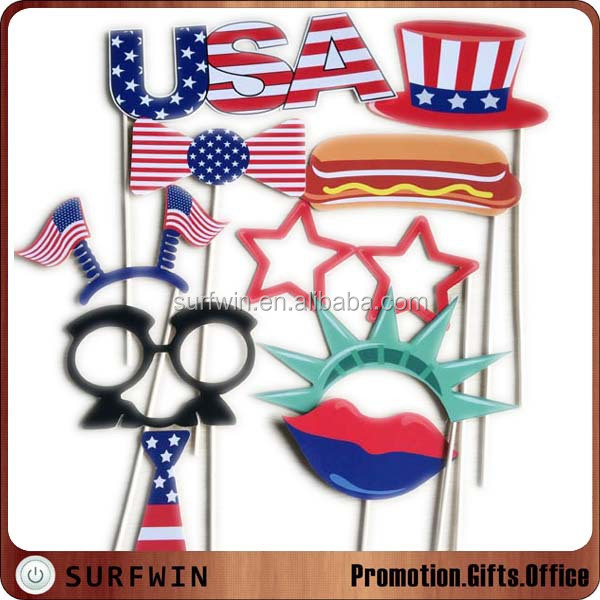 Customized 4th of July independence day paper party photo booth props selfie kit