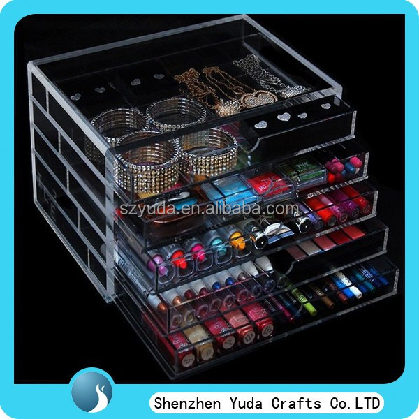 customized 5 tier clear acrylic makeup display case plexiglass cosmetic drawers with dividers floor high quality