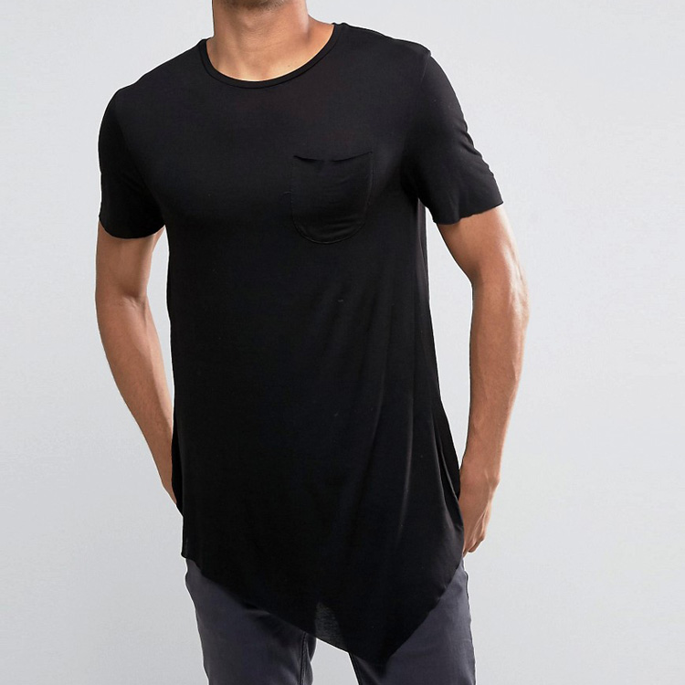Online Shopping India Wholesale Blank Black Cotton men's t shirts Curved Hem Slim Fit Men's T-shirt