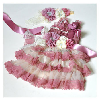 Dusty Pink with Ivory Lace Dresses Matching Headband and sash belt