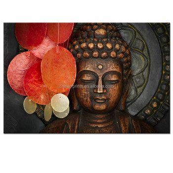 Buddha Canvas Wall Art Wood Buddha Statue Canvas Prints Keep inner Peaceful Buddha Artwork for Living Room Yoga Room