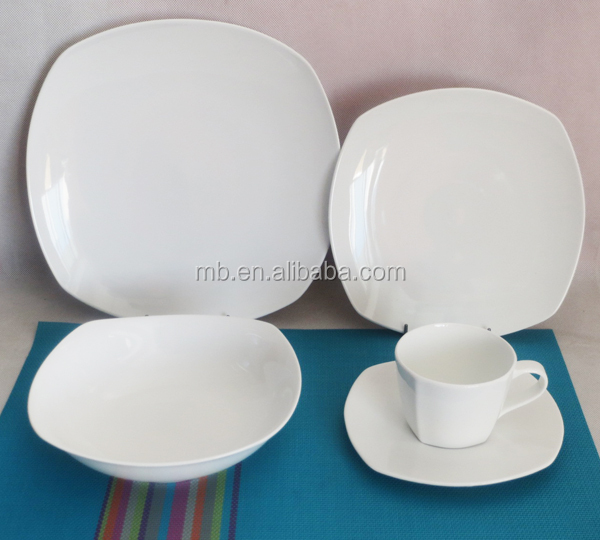 20pcs all white color square high quality new bone china dinnerset