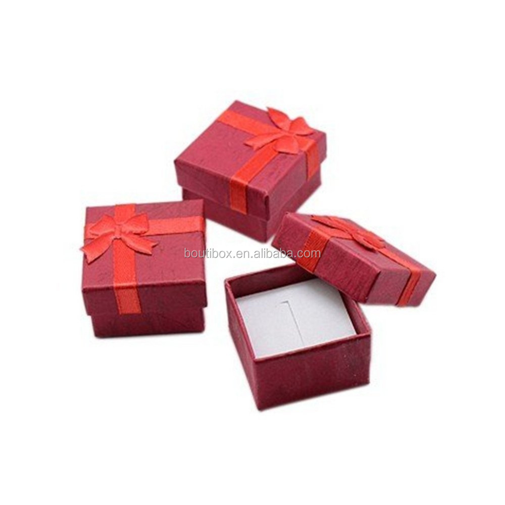 Boutibox BB-P35 Yiwu hot selling Cardboard Jewelry Bangle Gift Boxes With Rosebug Bows in Assorted Colors