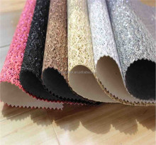 Bora PU wholesale glitter leather fabric for making bag shoe clothing wall materials