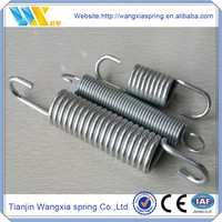 Exercise equipment coiled steel tension spring with hooks