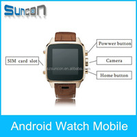 genuine leather 3g smart watch mobile phone with recharge pocket