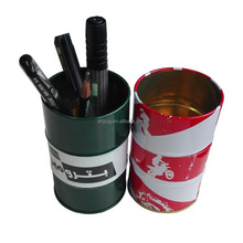 oil drum shape cool metal tin holder for pen and pencils