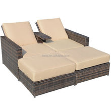 Modern adjustable chaise lounge chair with footrest rattan hotel outdoor furniture