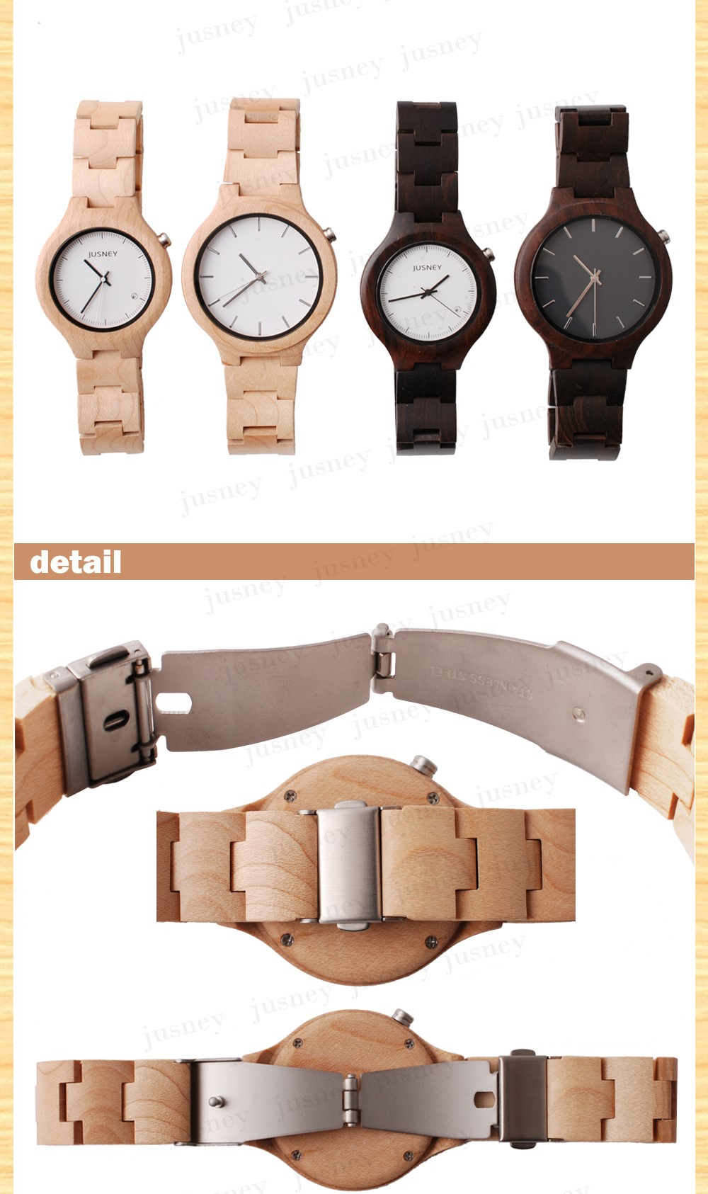 Bamboo Wooden Watches 2018 New Products Men's With Genuine wooden Band Luxury Wood Watches for Men Best Gift