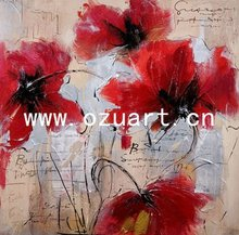 Modern Palette Knife Red Orchid Flower Oil Painting on Canvas