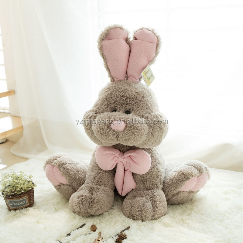 NEW!!! stuffed furry sitting brown plush big bunny toy with bow