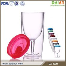 10oz Plastic Double Wall Wine Glass With Lid