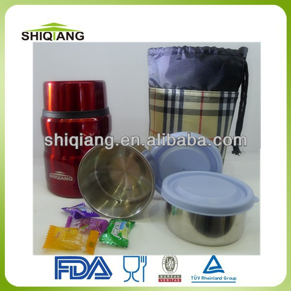 2014 new designed food grade 370ml stainless steel vacuum thermos small food container