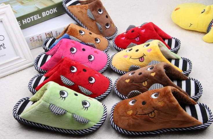 Winter cute animal cat shaped children's cotton slippers