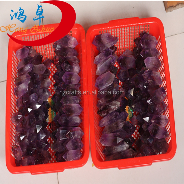 Wholesale aaa amethyst Points crystal quartz amethyst double Terminated Points for sale