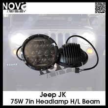 Hotsale 7inch round led work light jeep 75W LED headlight