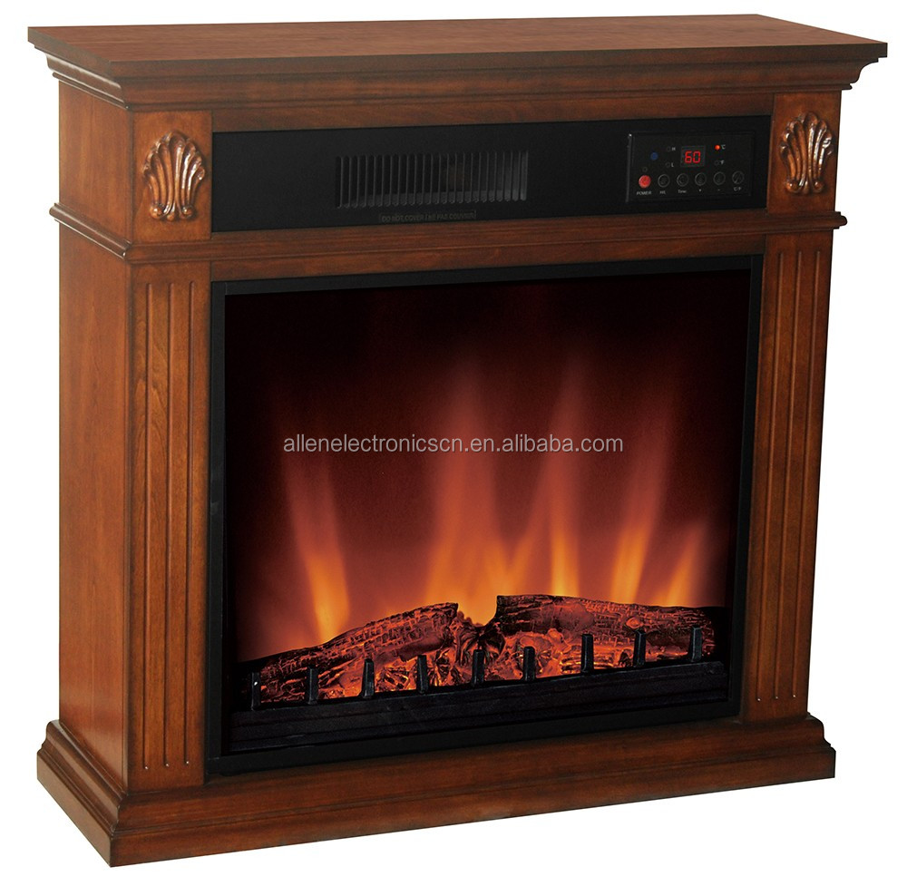 Decor Flame Build In Infrared Electric Fire Place Heater with Wood Mantel