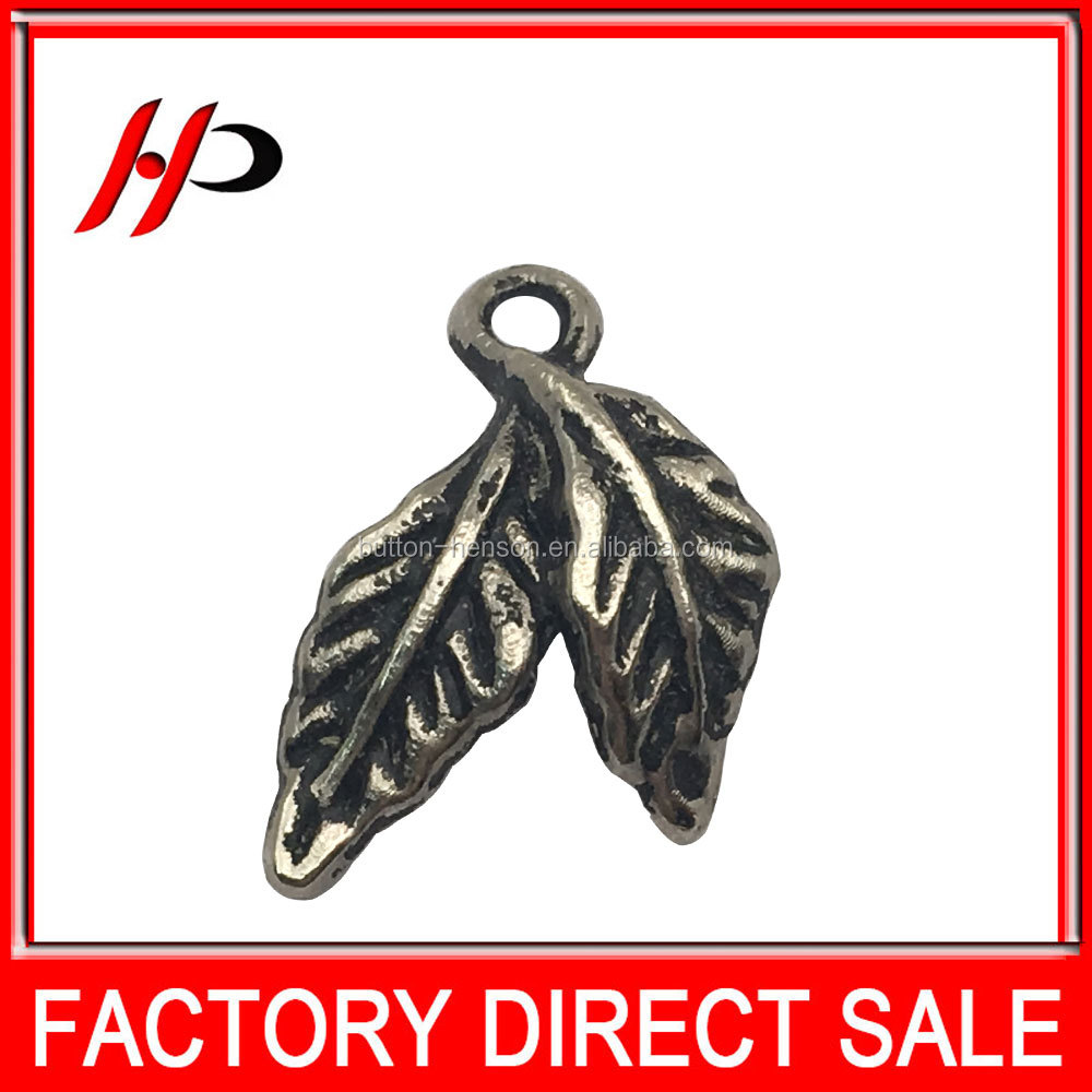Antique silver or customized colors metal alloy leaf pendant for garment