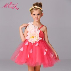 Top seller baby girl wedding party dress fashion and fancy big floral ornamnet lace dress flower dress T305