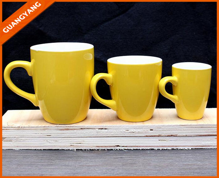Hot sale yellow sublimation ceramic material 12 oz coffee mug