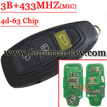 Best price After Market 3 button Remote key with 433MHZ Type#1 for Ford With 4D-63 Chip