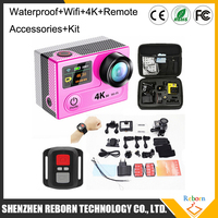 Dual screen 30M waterproof wifi mini H8R 4K action camera with remote