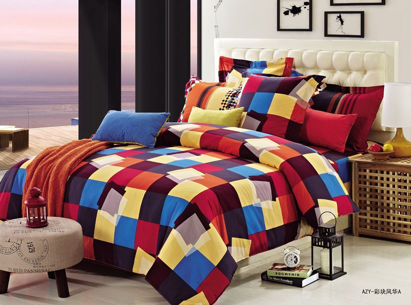 luury 100% cotton high-end colorful check Bedding set wholesales