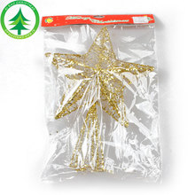 Christmas Tree Ornament Metal Christmas Tree Top Star With Golden Powder and Glitterging Piece For Christmas Decoration Supplies