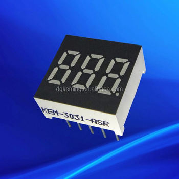 ultra bright red 0.3 inch led 7 segment 3 digits display