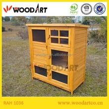Three Part Design Outdoor Wooden Rabbit Hutch With Run And Ladder